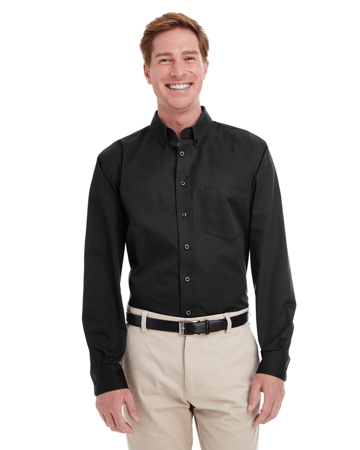 Men's Tall Foundation 100% Cotton Long-Sleeve Twill Shirt with Teflon