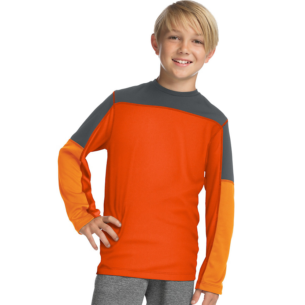 Hanes Sport 153 Boys Long Sleeve Pieced Tech Tee