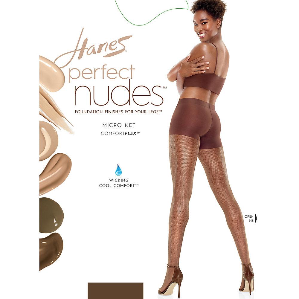 Hanes Perfect Nudes Sheer Micro Net Girl Short Tummy Control Hosiery