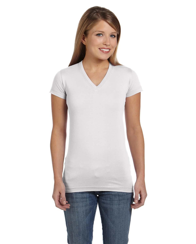 Ladies' Junior Fit V-Neck Fine Jersey T-Shirt