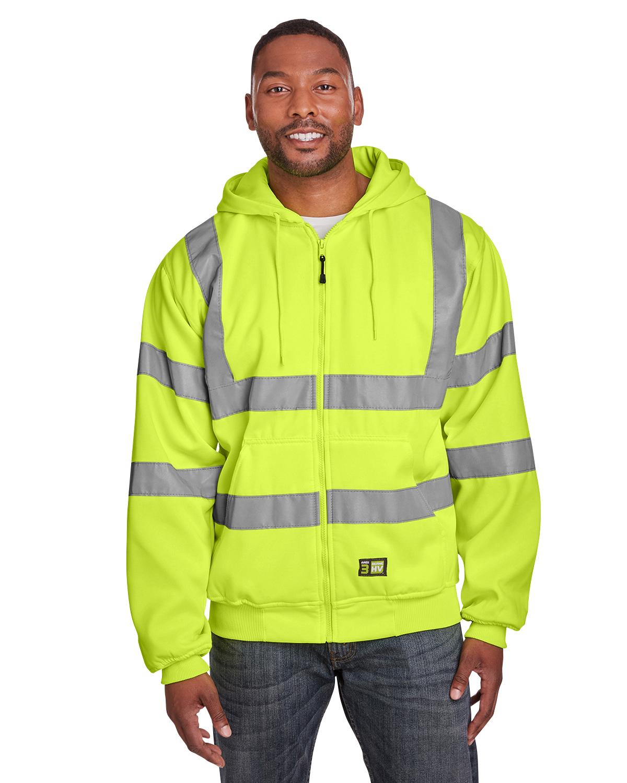 Men'S Hi-Vis Class 3 Lined Full-Zip Hooded Sweatshirt
