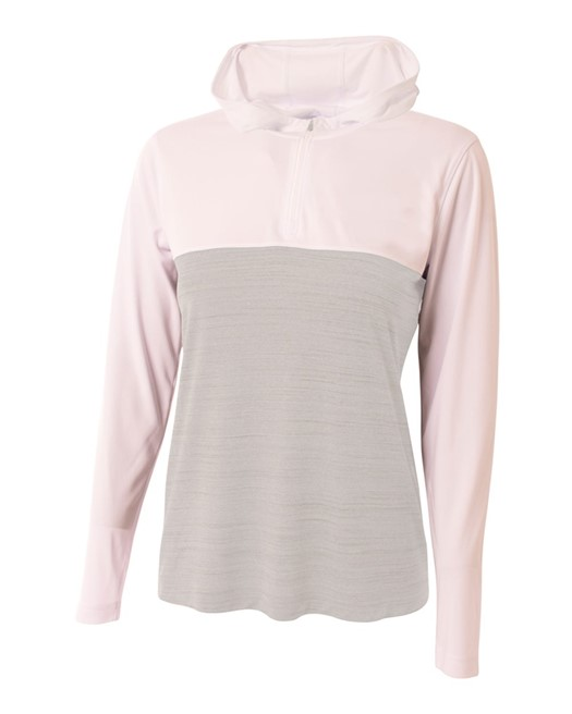 Ladies' Slate Quarter-Zip Hooded Sweatshirt