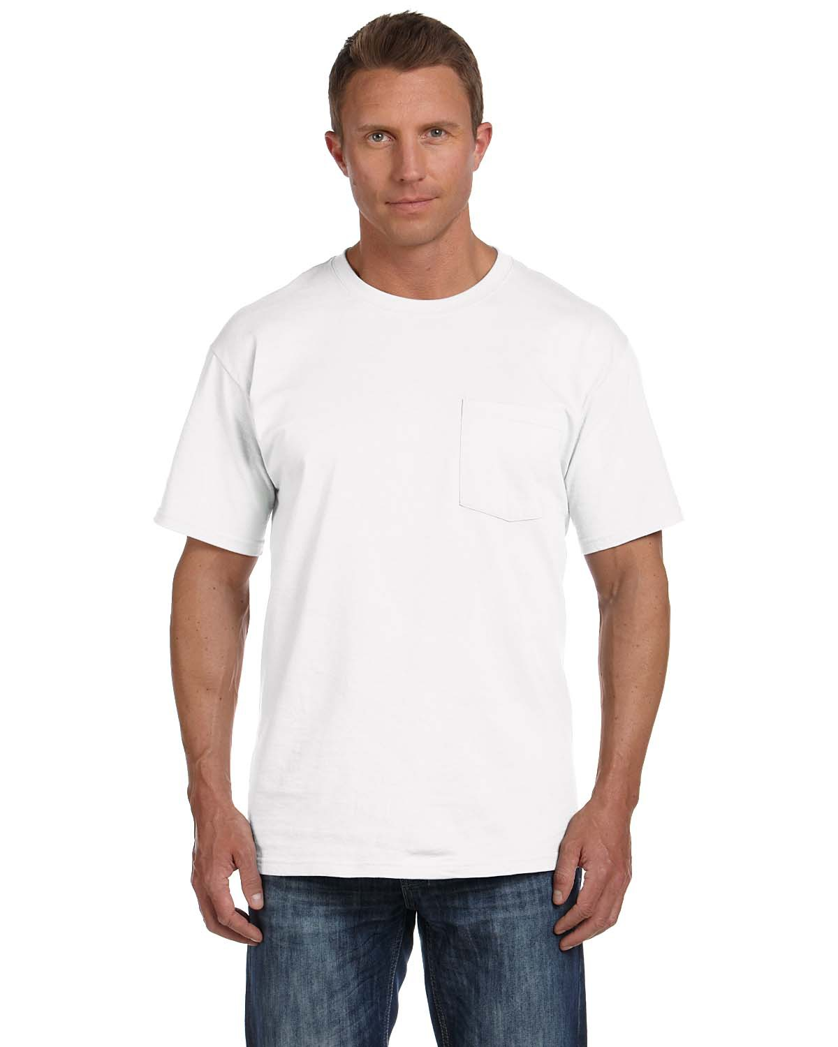 Fruit of the Loom 3931P Adult HD Cotton Pocket T-Shirt