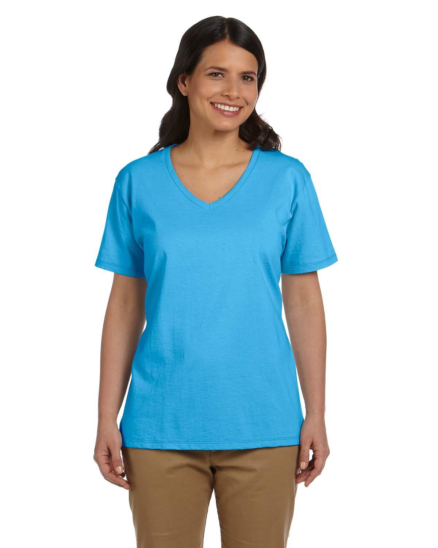 Ladies' 5.2 oz. Tagless® V-Neck T-Shirt