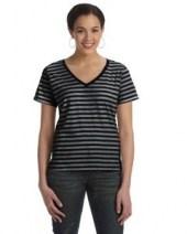 Ladies' Ringspun Striped V-Neck T-Shirt
