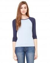 Ladies' Baby Rib 3/4-Sleeve Contrast Raglan T-Shirt