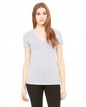 Ladies' Jersey Short-Sleeve Deep V-Neck T-Shirt