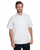 Unisex Studded Front Short-Sleeve Chef's Jacket