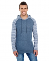 Adult Raglan Sleeve Striped Jersey Hooded T-Shirt