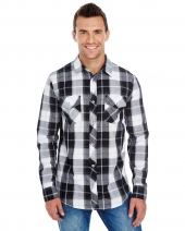 Men's Long-Sleeve Plaid Pattern Woven Shirt