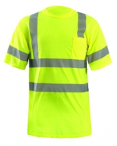 Men's LUX-SSETP2B-Orange and Yellow Sizes Reflective Pocket T-Shirt