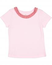Toddler Girl's Ruffle Neck Fine Jersey T-Shirt
