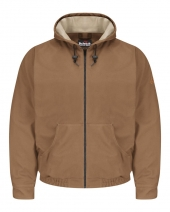 Brown Duck Hooded Jacket - EXCEL FR® ComforTouch® - Long Sizes