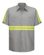 Enhanced Visibility Short Sleeve Cotton Work Shirt Long Sizes