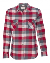 Women's Vintage Brushed Flannel Long Sleeve Shirt