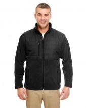 Men's Fleece Jacket with Quilted Yoke Overlay