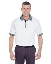 Adult White-Body Classic Piqué Polo with Contrast Multi-Stripe Trim
