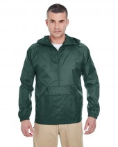 Adult Quarter-Zip Hooded Pullover Pack-Away Jacket