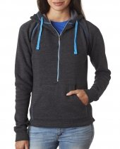 Ladies' Triblend Half-Zip Fleece Hood