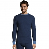 Hanes Mens 2-color Fusion Knit Thermal Crewneck