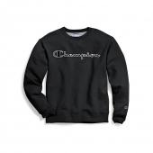 Champion Mens Powerblend Fleece Crew, Logo With White Chainstitch