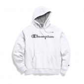 Champion Mens Powerblend Fleece Pullover Hoodie, Chainstitch Outline Logo
