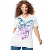 JMS Bedecked Butterfly Short Sleeve Graphic Tee