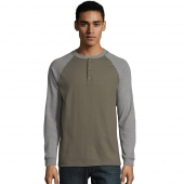Hanes Mens Beefy-T Long-Sleeve Colorblock Henley