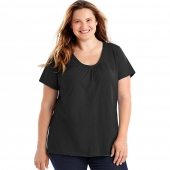 Just My Size Slub-Cotton Short-Sleeve Shirred V-Neck Womens Tee