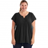 Just My Size Short-Sleeve Slub-Jersey Womens Tunic with Split V-Neck Crochet Bib Yoke