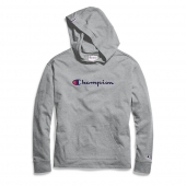 Champion Womens Heavyweight Jersey Pullover Hoodie, Script Logo