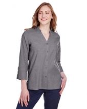 Ladies' Crown Collection? Stretch Pinpoint Chambray 3/4 Sleeve Blouse
