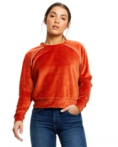 Ladies' Velour Long Sleeve Crop T-Shirt