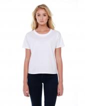 Ladies' 3.5 oz., 100% Cotton Raw-Neck Boxy T-Shirt