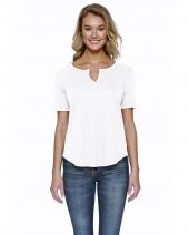 Ladies' 4.3 oz., CVC  Slit V-Neck T-Shirt