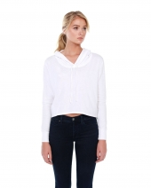 Ladies' 4.3 oz., CVC Cropped Hoodie T-Shirt