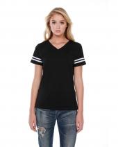 Ladies' 4.3 oz., CVC Striped Varsity T-Shirt