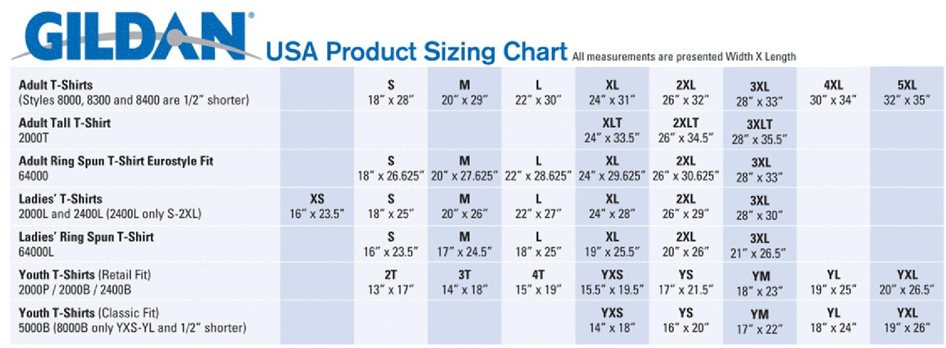 Gildan t shirts size chart for youth arts arts